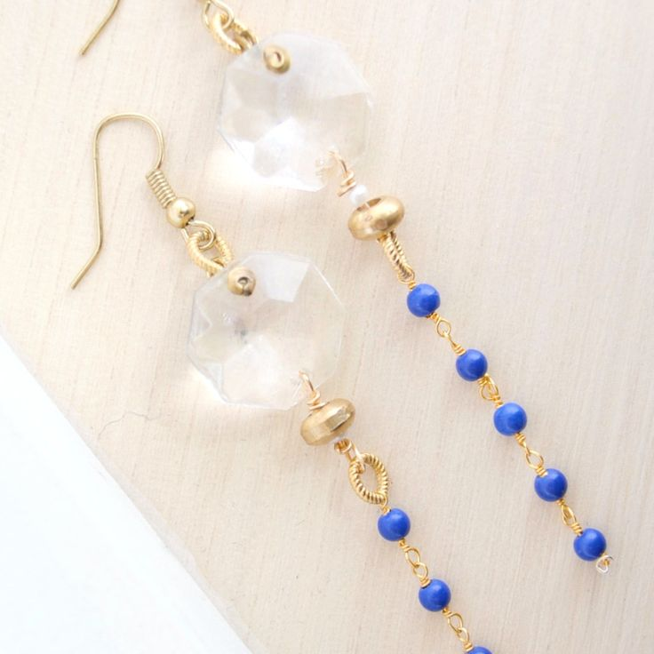 Gold Dangle Earrings I Lapis Chain | Laura James Jewelry