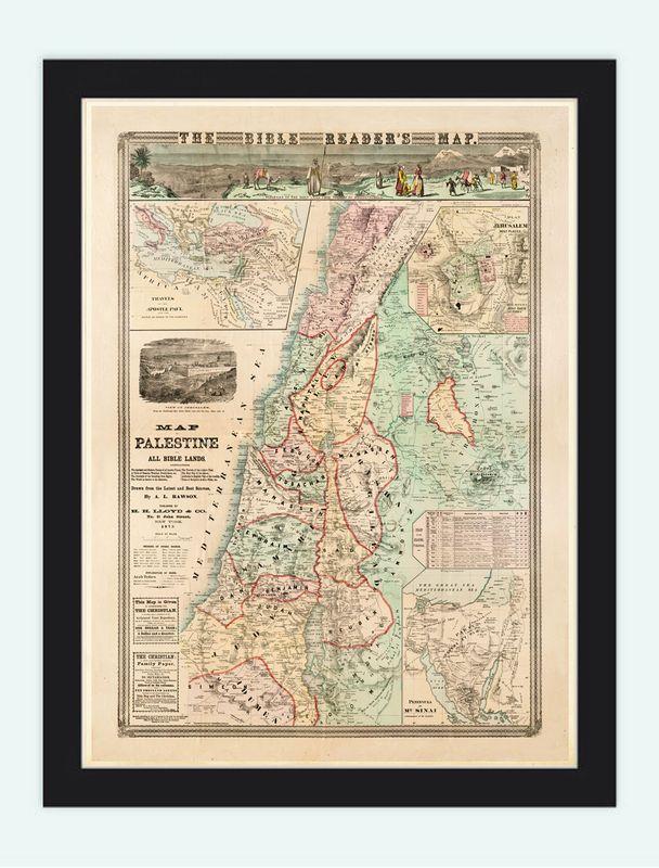 Bible Readers Map Palestine Jerusalem Israel, 1873 Deeds of Jesus - VINTAGE MAPS AND PRINTS