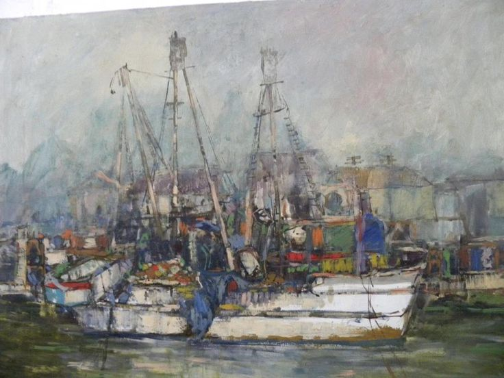 LISTED IMPRESSIONIST ARTIST ANTON SIPOS PAINTING OF SHIPS AT HARBOR