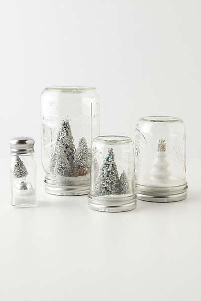I'm making a mock version of these anthro mason jar snow globes for my Christmas centerpiece.