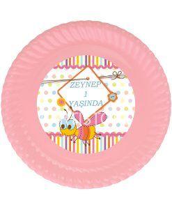 Doğum günü parti süslemeleri için kişiye özel tasarlanmış Sevimli Arı Temalı Karton Tabak ürünümüzü online olarak uygun fiyatlar ile satın alabilirsiniz