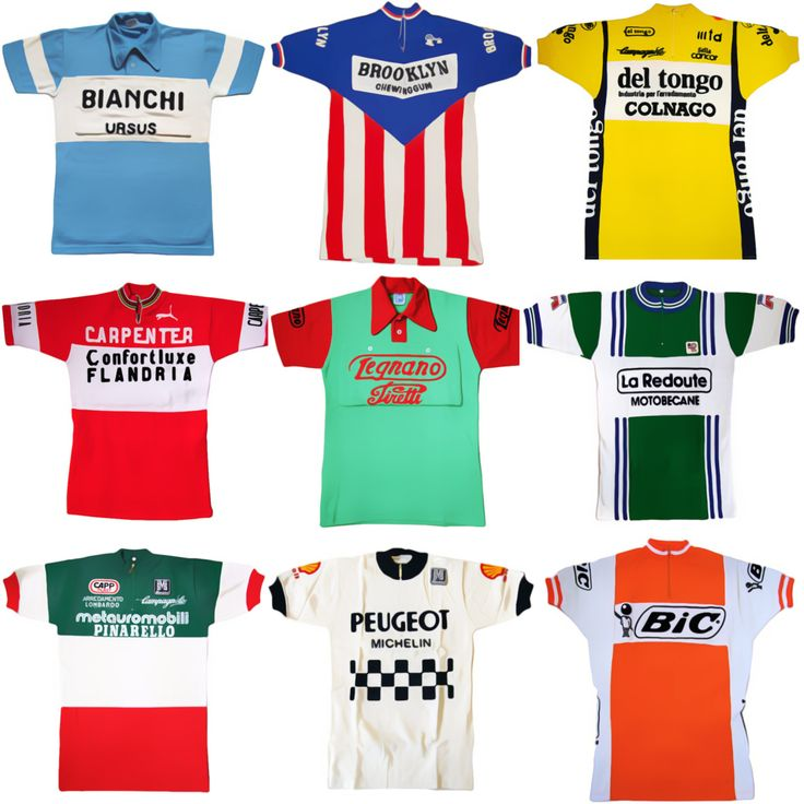 Classic vintage cycling jerseys. Bianchi Ursus, Brooklyn Chewing Gum, Del Tongo Colnago; Carpenter Confortluxe Flandria; Legnano Pirelli, La Redoute Motobecane; Metauromobili Pinarello, Peugeot...
