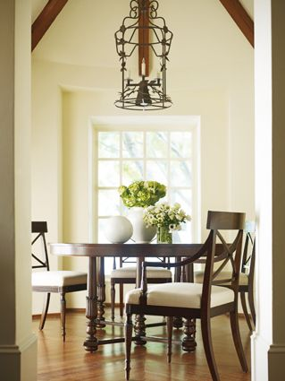 """"""" Everyone will want to set the table."""" This Henredon dining room is perfect for smaller spaces and adds so much styling to the room."""