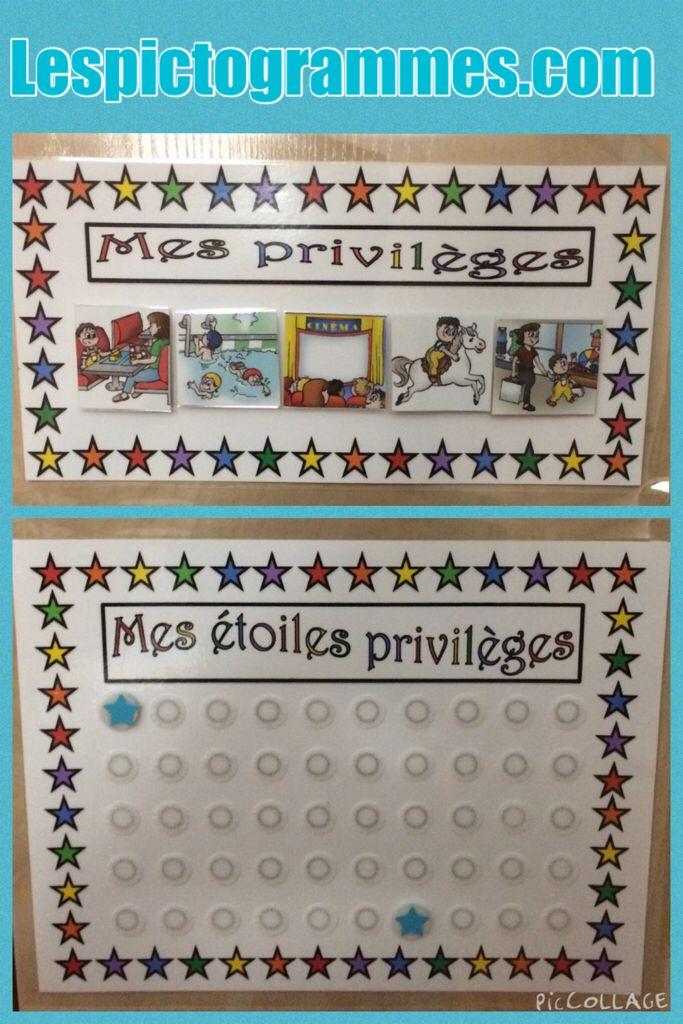 Tableau d'accumulation d'étoiles pour des privilèges. Chaque bon comportement se…