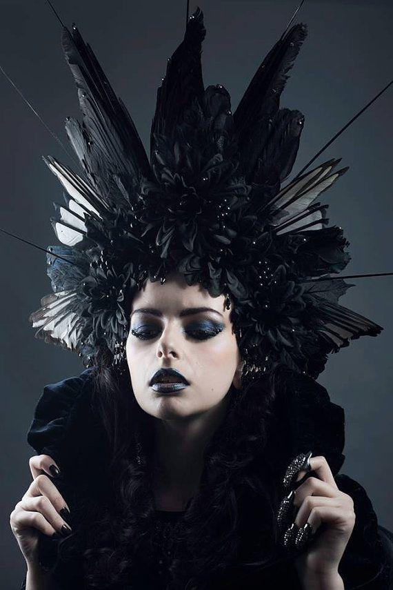 Huge Couture Gothic 'Black Corvidae' Feather Headdress on Etsy, $376.25