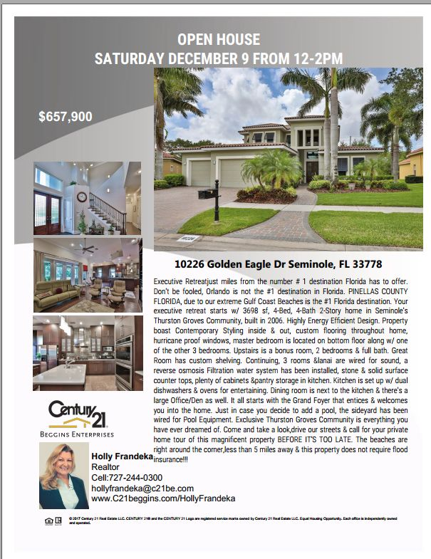 Largo Open House:  10226 Golden Eagle Drive from 12:00 PM - 2:00 PM, December 9th | $657,900 | 4 Beds | 4 Baths | 3,698 Sq. Ft.  Contact Holly Frandeka for more information! Listing, Bob Dean and Randy Schuster.