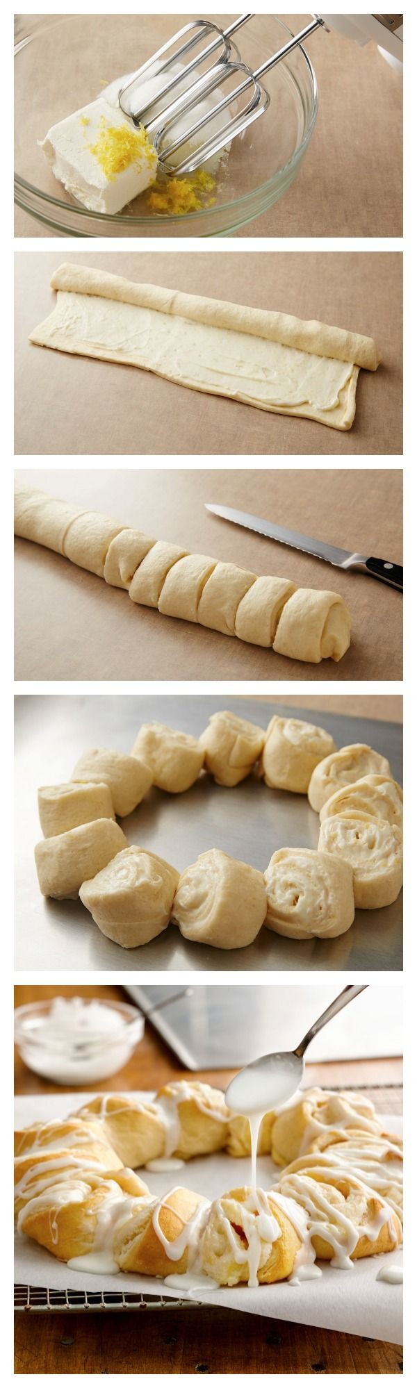 Lemon-Cream Cheese Crescent Ring Recipe Ingredients: Crescent Ring 1 package (3 oz) cream cheese, softened 1/4 cup granulated sugar 1 tablespoon fresh lemon juice 2 teaspoons grated lemon peel 1 ca...