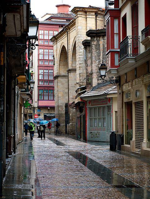 Agua de mayo en Bilbao Casco Viejo  Spain