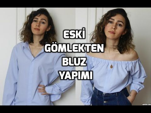 H&M Inspired /Kendin Yap / Eski Gömlekten Bluz Yapımı / DIY Off-Shoulder Top From an Old Shirt - YouTube