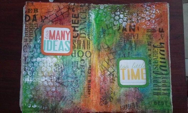 Art journal. Tissue paper,  stencils, gelatos