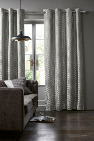 Silver Woven Geo Jacquard Eyelet Curtains