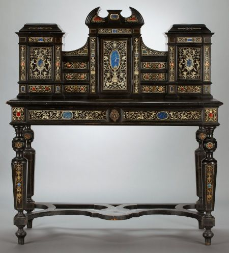 A Gorgeous Italian Renaissance Revival Desk And Cabinet, Circa 1870 1890,  With Ivory