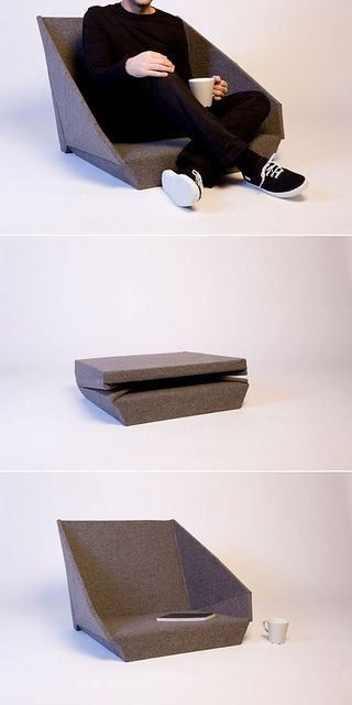 """Oyster"""" chair by Kawamura Ganjavian  Madrid based studio Kawamura Ganjavian newest creation is a lovely foldable felted seat that is intende..."""