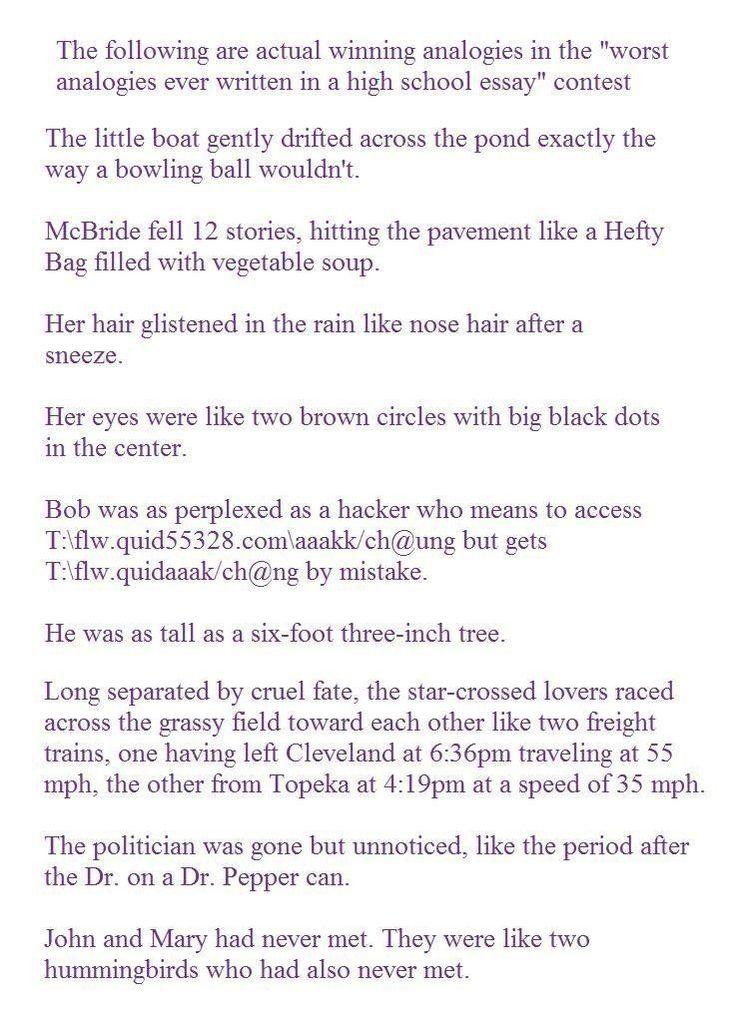 Worst analogies ever