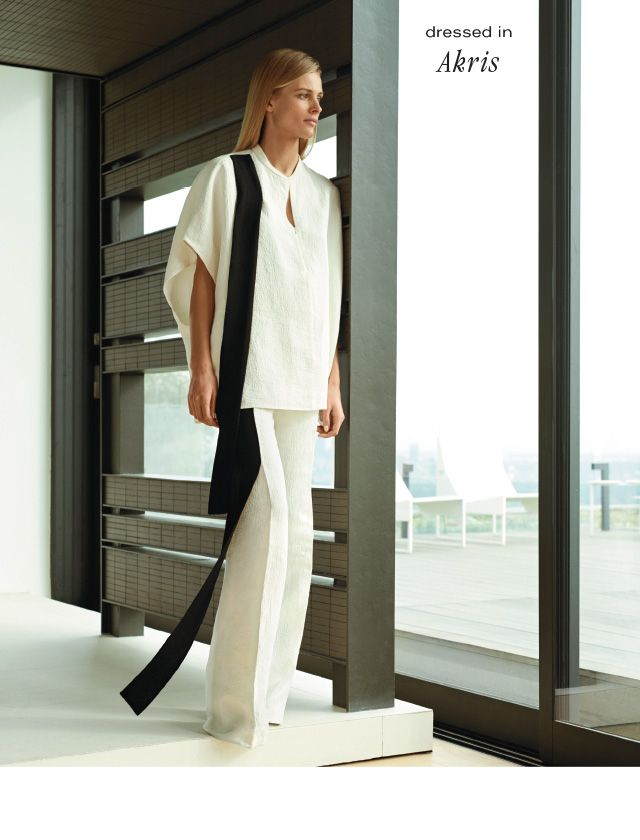 AKRIS Mock-neck cap-sleeve tunic. $2585. Double-faced bootleg pant. $1550. Both in white with black linen crepe.