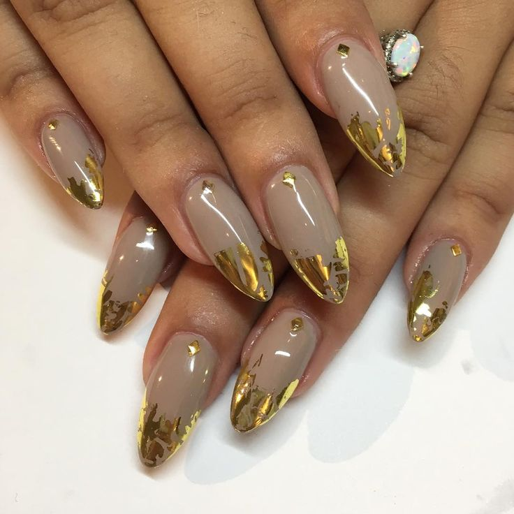 "582 Likes, 3 Comments - Mia at Sparkle SF Nail Studio (@superflynails) on Instagram: ""Taupe & gold for Michelle ✨ #nails #nailart #gelnails #sparklesf"""
