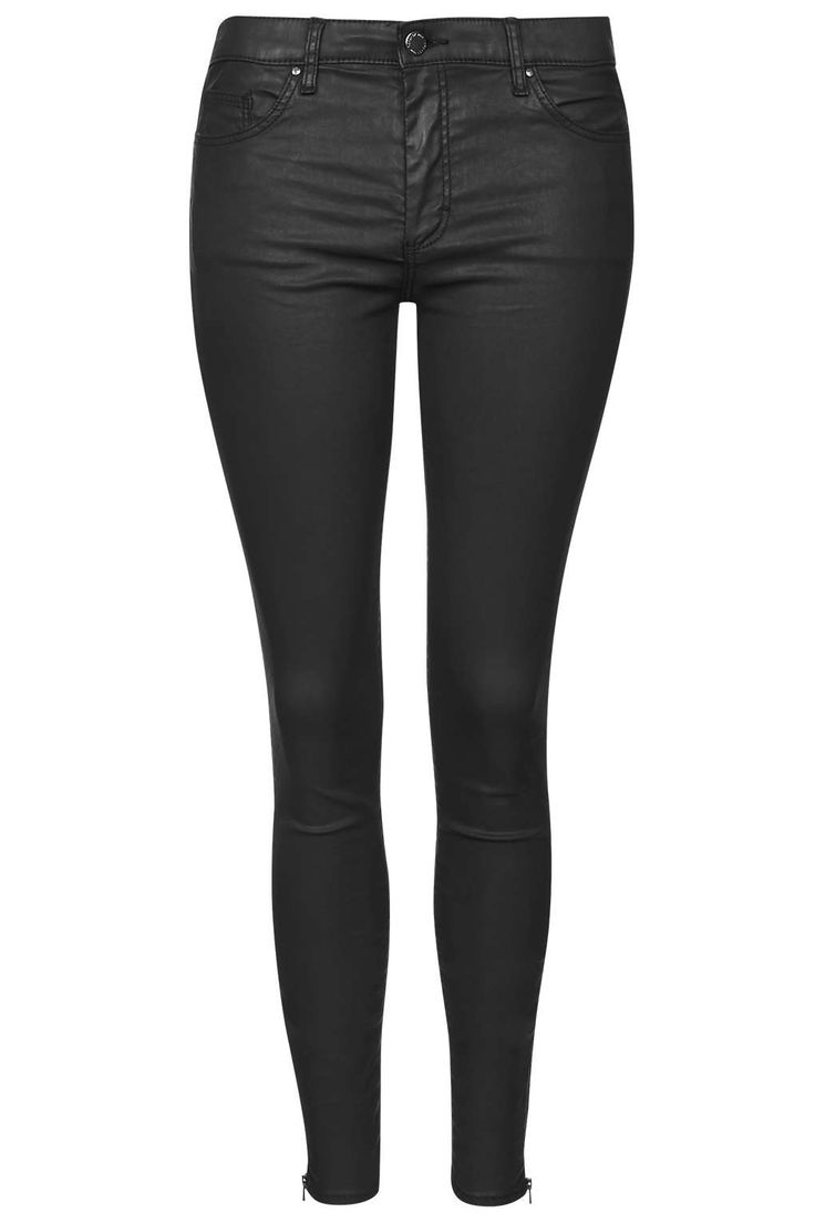 photo 1 of moto black zip ankle coated leigh jeans