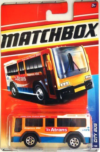 "2011 Matchbox CITY BUS #67/100 (Yellow-Orange ATRANS), City Action #8/14 by Mattel. $7.17. City Bus, #67 of 100. 2011 Matchbox City Action series #8 of 14. 1/64 scale die-cast. for ages 3+. yellow-orange color with white, red, and blue details. ""Atrans"", ""Express 494"", ""CFE"", ""Cross Line Transit MMXI"" on side.. The time has come for the annual Matchbox collector's convention! Excitement is building as you join your fellow collectors on the enviromentally-friendly Cit..."