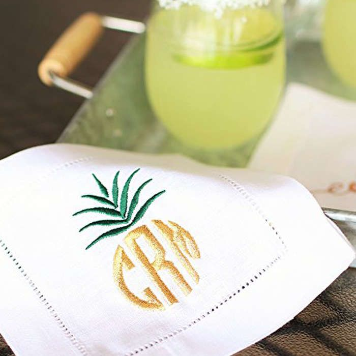 Rank & Style - Caroline Randall Made Monogram Linen Cocktail Napkin Set #rankandstyle