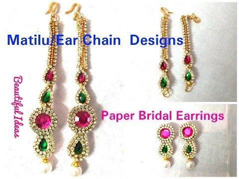 DIY//How to make Silk thread Ear Chains/Matilu / Paper Bridal Earrings at Home..Tutorial.. - YouTube
