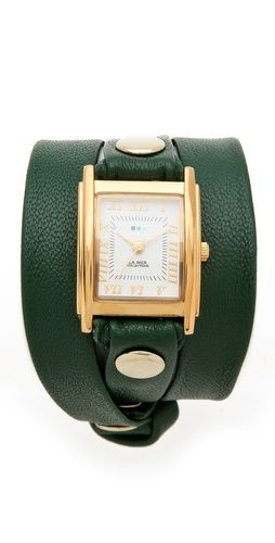 La Mer Collections Simple Wrap Watch - Emerald/Gold - Made in the USA #commandress