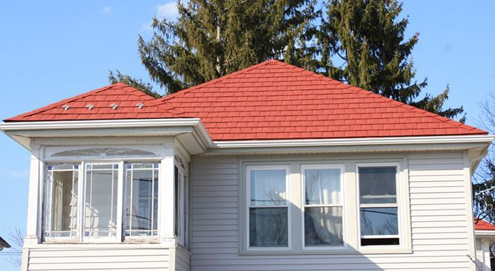 Best Metal Shingles Roofing System On A Residential Home Red 400 x 300