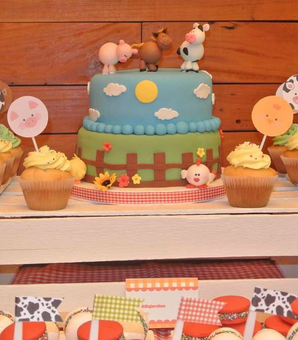 Cute animal cake at a farm birthday party!  See more party planning ideas at CatchMyParty.com!