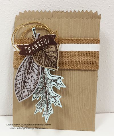 Stampin'Up! holiday catalog sneak peek, Vintage Leaves stamp set, Leaflets framelits, Acorny Thank You stamp set, Mini Treat Bag thinlit, thanksgiving, centerpiece