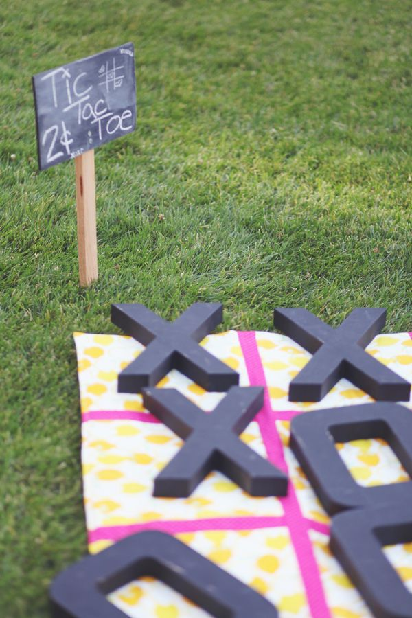 Giant Tic Tac Toe spray paint lines. get the chipboard letters from hobby lobby/joann ($35ish)
