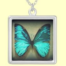 Turquiose Butterfly necklaces by seaskys