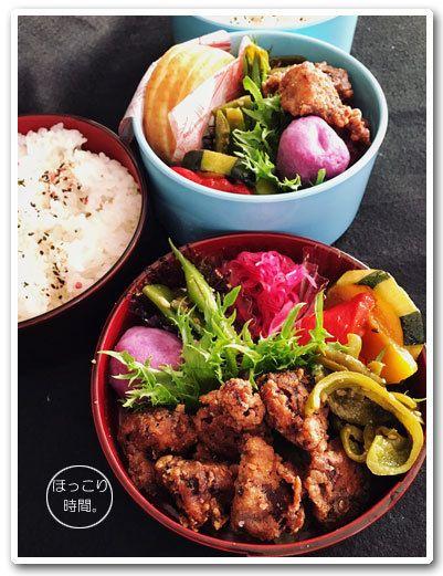 #2017atsuko_obento .✻砂肝の塩麹漬け焼き✻紫芋ボール✻モロッコインゲンのゴマ和え✻紫キャベツの甘酢漬け✻ズッキーニとパプリカの焼きびたし✻ピーマンのナムル