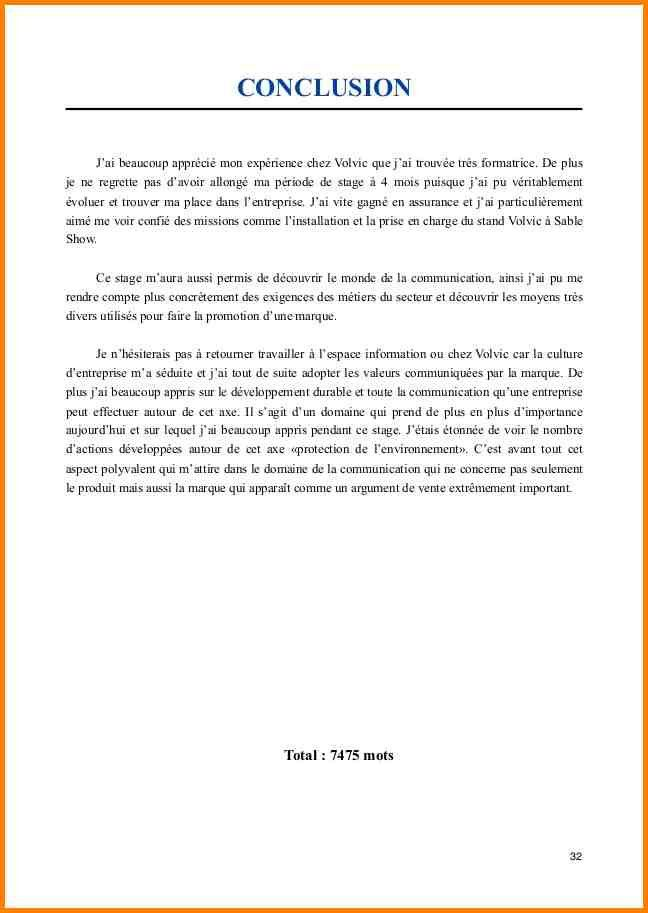15 Exemple Conclusion Rapport De Stage Ala Ouzarf Hadjret Ennous Rediger Un Rapport Modele De Rapport Stage