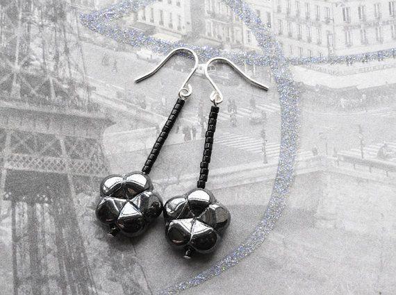 Black Flower Earrings Sterling Silver Gothic by KittyBallistic
