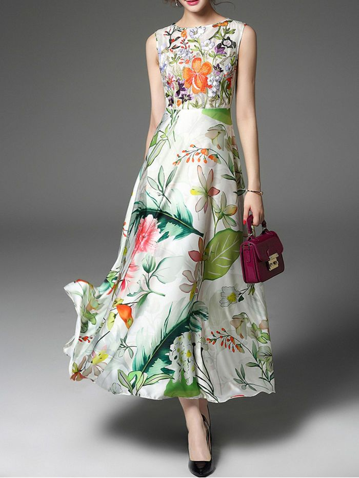 Floral Embroidery Sleeveless Maxi Dress On Stylewe Com