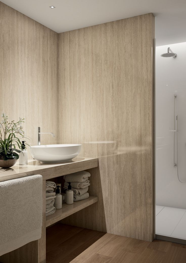 Suitable for bathrooms, Tale Classico tile series perfectly integrate in Spa and Wellness areas. #facade #outdoor #colour #design #tile #design #lanscapearchitecture #ceramicheacaesar #caesarceramics #project #evolution #home #indoor #hospitality #office #shop #boutique #cladding #floor #wall #spa #wellness #bathroom