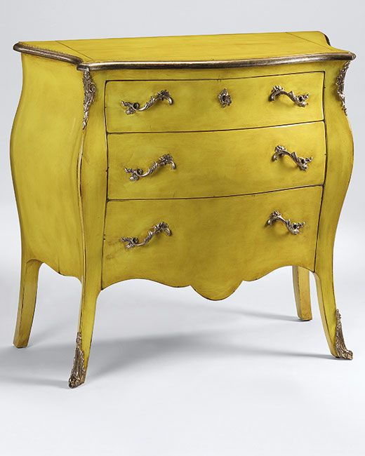 luxury furniture - hand-painted furniture - Louis XV style three drawer bombe chest with lightly distressed lacquered yellow finish