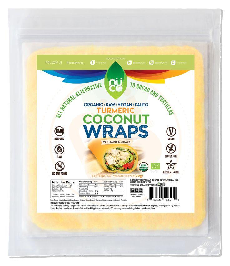 NUCO Organic Coconut Wraps - Turmeric Flavor (Coconut meat, water, oil, turmeric)