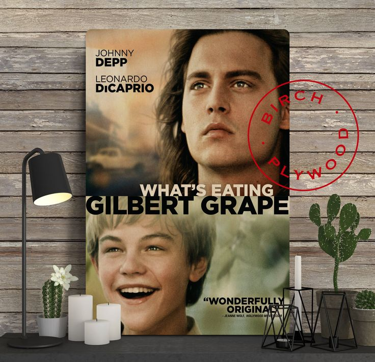 What's Eating Gilbert Grape - Poster on Wood, Johnny Depp, Leonardo DiCaprio, Juliette Lewis, Movie Poster, Unique Gift, Print on Wood by InHousePrinting on Etsy