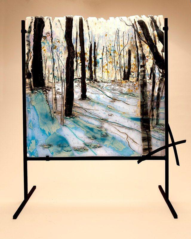 """A Walk Through the Woods"" fused glass art Alice Benvie Gebhar"