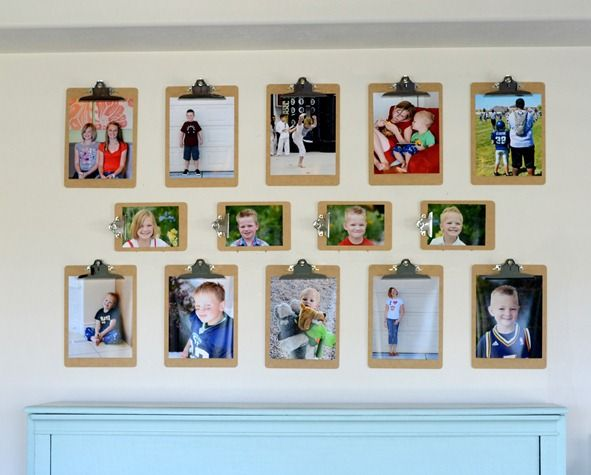 Clipboard photo wall--orig thought this was cute, but from experience with other pics I've left hang frameless, the pics start to curl up, so not a fan of hanging without a frame (unless they are images that you'll be rotating out frequently)