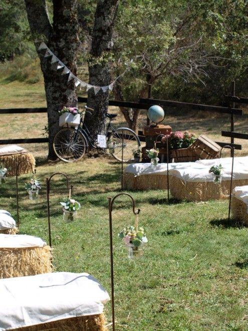 Decoraci n de boda vintage con balas de paja cajas for Decoracion de photocall