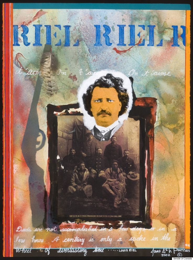"Jane Ash Poitras - ""Riel - Riel - Riel"" - ""Fort Chipewyan Cree artist Jane Ash Poitras is known for her collage-like technique, which incorporates photos. Here, she pays tribute to Louis Riel, founder of the Metis and the province of Manitoba, by using a photo of the historical rebel leader and another of his provisional government. There is also a rifle with a feather at the mouth of its barrel, symbolizing a conflict that was meant to be carried out peacefully."""