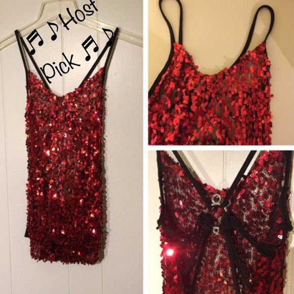 HP Sexy Sparkly Open Back Sheer Top M/S Very sexy Top sheer at front, open back, size tag says standard Tops