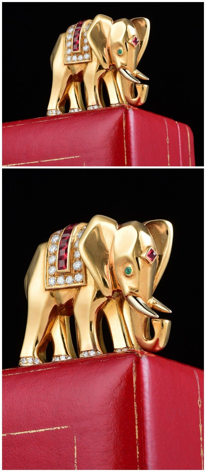 A Cartier diamond, ruby, and emerald elephant pin in 18K yellow gold.
