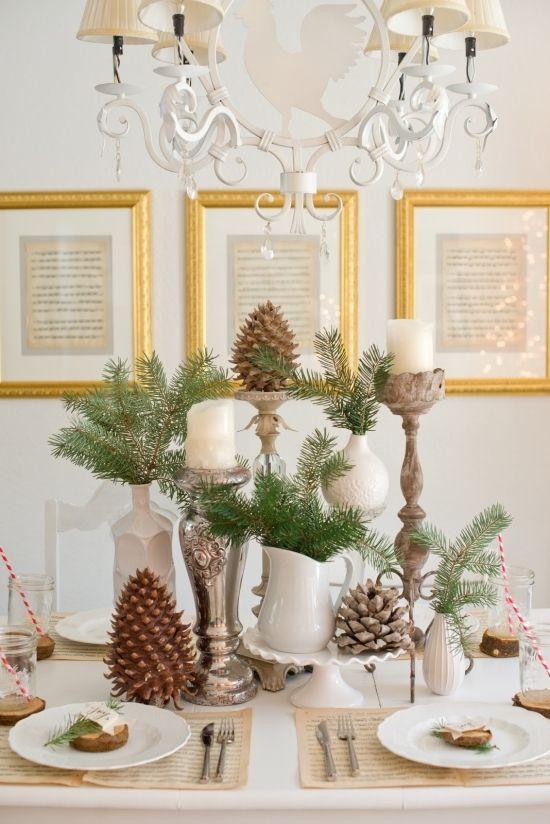 Winterliche tischdeko tannenzweige zapfen porzelan - Winterliche dekoration ...