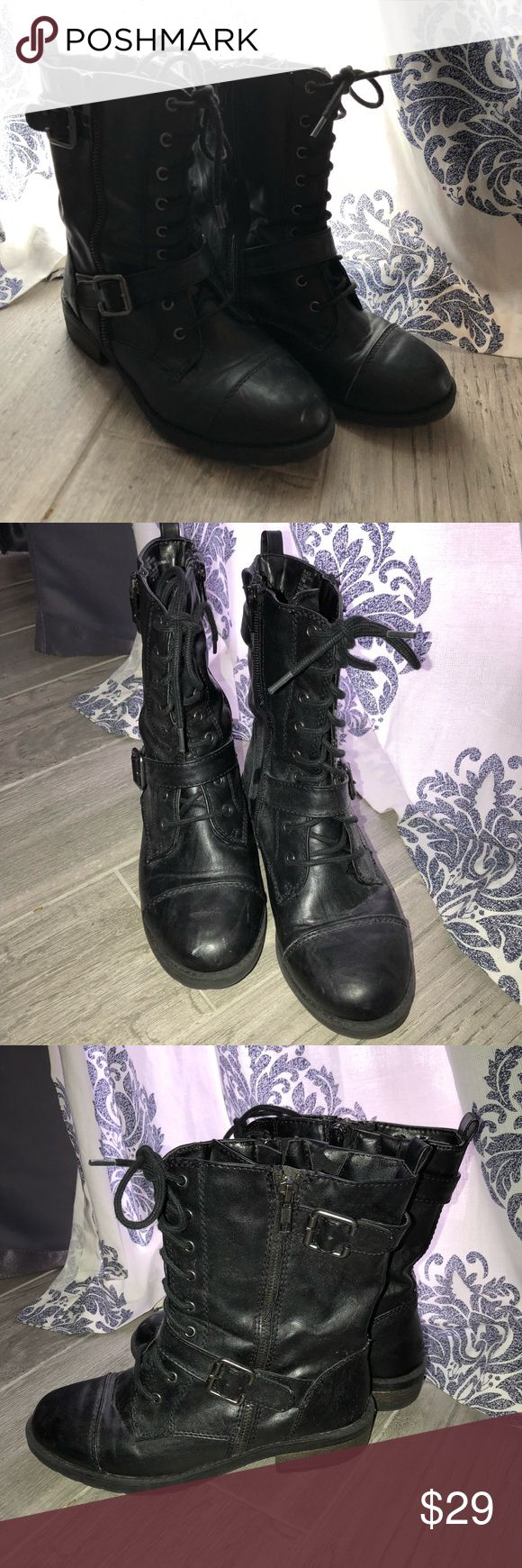 [White Mountain] Black Combat Boots - Size 7 Black faux leather combat boots by White Mountain. Lace up. Also has working zippers on each side of boots and buckles across laces and back of ankle. Size 7. In great used condition. White Mountain Shoes Combat & Moto Boots