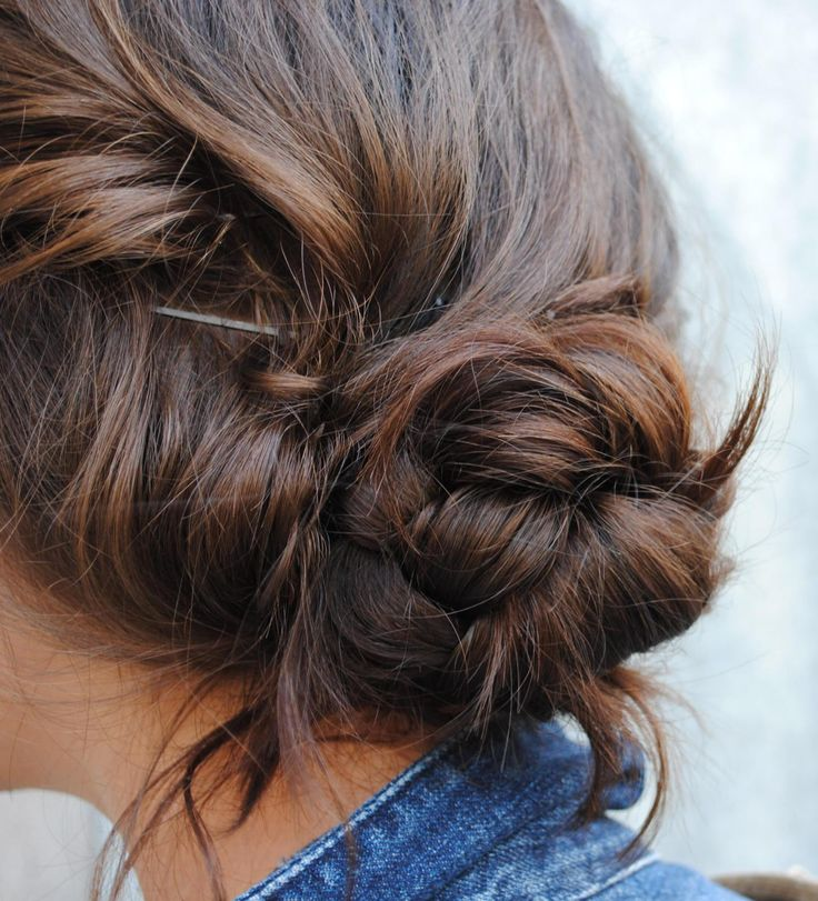 Messy braided bun. Hair.