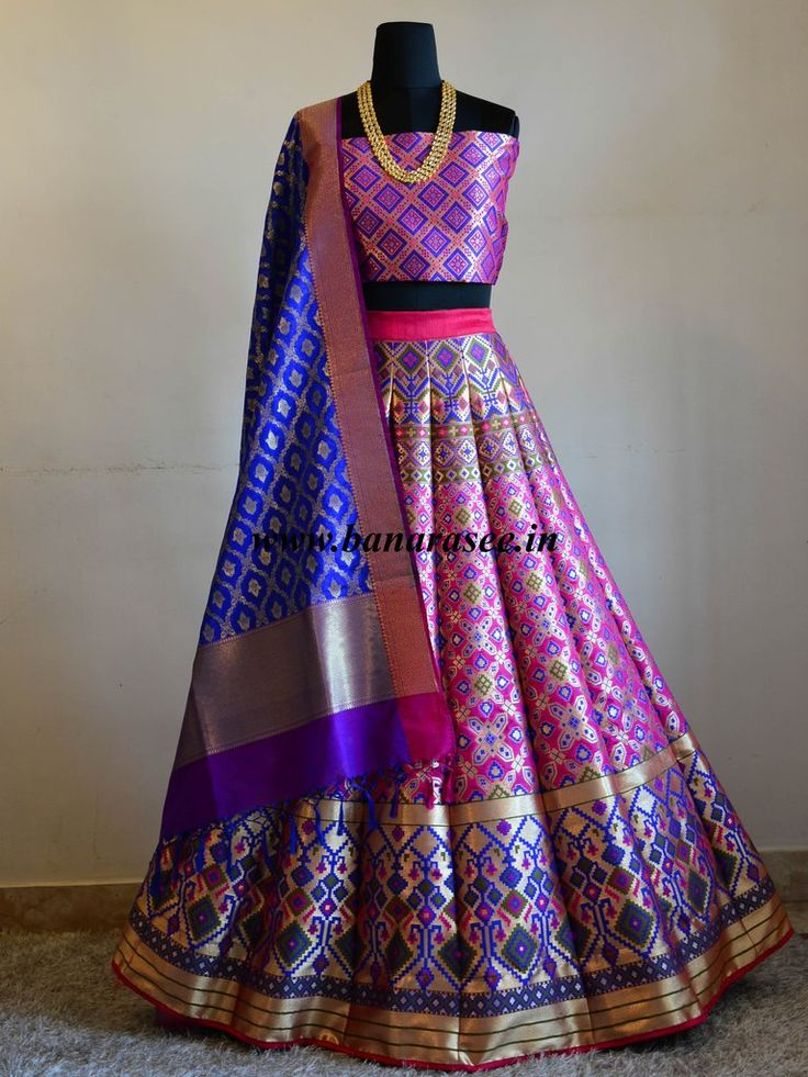 Banarasee/Banarasi Handwoven Art Silk Unstitched Lehenga & Blouse Fabric With Woven Meena Design-Hot Pink