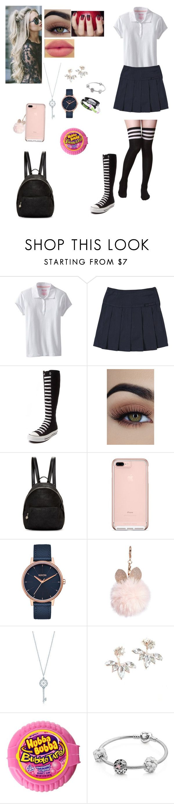 """School 🙈"" by unicornchaby ❤ liked on Polyvore featuring Nautica, French Toast, Converse, tarte, STELLA McCARTNEY, Nixon, GUESS, Tiffany & Co. and Pandora"