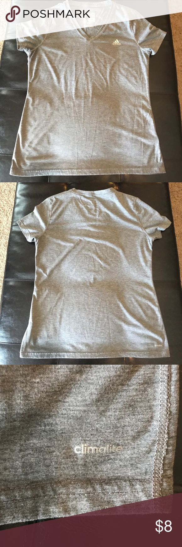 Adidas workout shirt Adidas grey workout shirt. 85% polyester 15% cotton. Worn a handful of times. Adidas Tops Tees - Short Sleeve